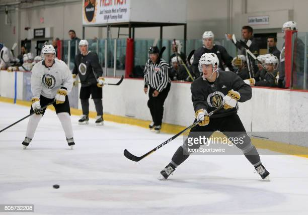 Dylan Coghlan moves the puck during the Vegas Golden Knights Development Camp at the Las Vegas Ice Center on July 01 2017 in Las Vegas Nevada