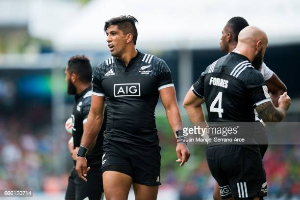 Dylan Collier of New Zealand reacts during the 2017 Hong Kong Sevens match between Fiji and New Zealand at Hong Kong Stadium on April 8 2017 in Hong...