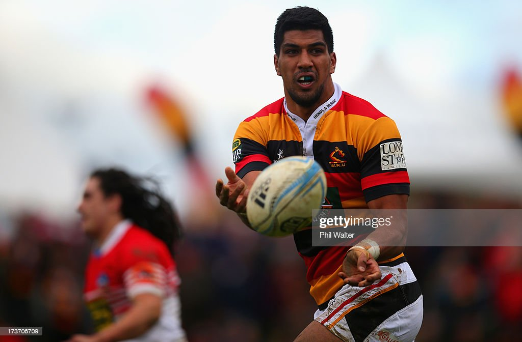 Dylan Collier of Waikato passes the ball during the Ranfurly Shield match between Waikato and Horowhenua-Kapiti at the Morrinsville Domain on July 17, 2013 in Morrinsville, New Zealand.