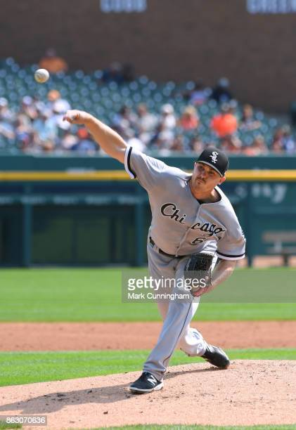 Dylan Covey of the Chicago White Sox pitches during the game against the Detroit Tigers at Comerica Park on September 17 2017 in Detroit Michigan The...