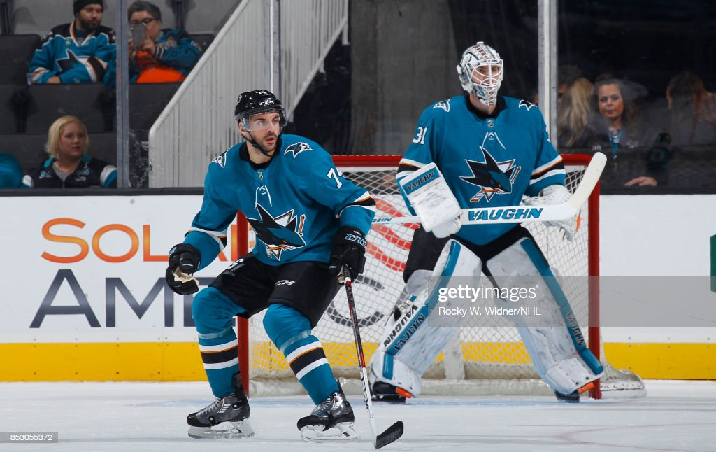 Dylan DeMelo #74 and Martin Jones #31 of the San Jose Sharks defend the net against the Vegas Golden Knights at SAP Center on September 21, 2017 in San Jose, California.