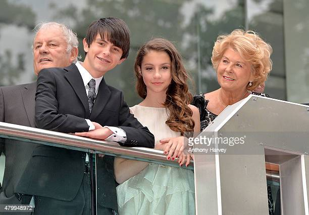 Dylan Douglas and Carys Douglas with their grandmother and Catherine Zeta Jones mother Patricia Fair attend the European Premiere of Marvel's...