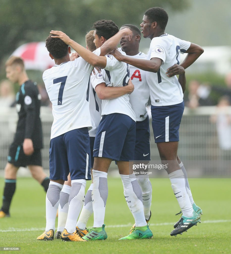 Dylan Duncan of Tottenham celebrates after scoring their first goal during the Premier League 2 match between Tottenham Hotspur and West Ham United at Tottenham Hotspur Training Centre on August 21, 2017 in Enfield, England.