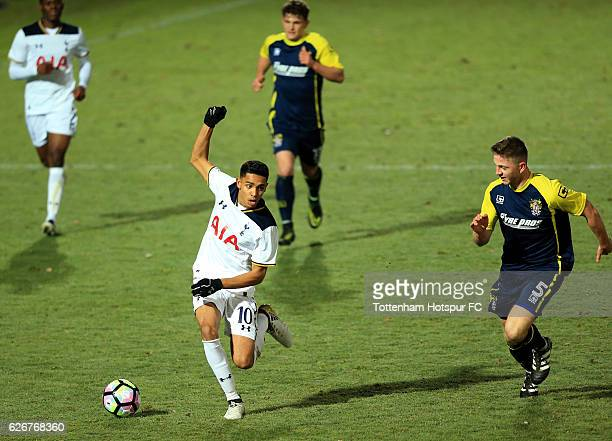 Dylan Duncan of Tottenham Hotspur advances under pressure from Charley O'Keefe of Stevenage during the FA Youth Cup Third Round between Tottenham...