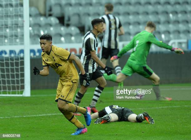 Dylan Duncan of Tottenham Hotspur celebrates scoring their fifth and winning goal in the second half during the FA Youth Cup Sixth Round match...