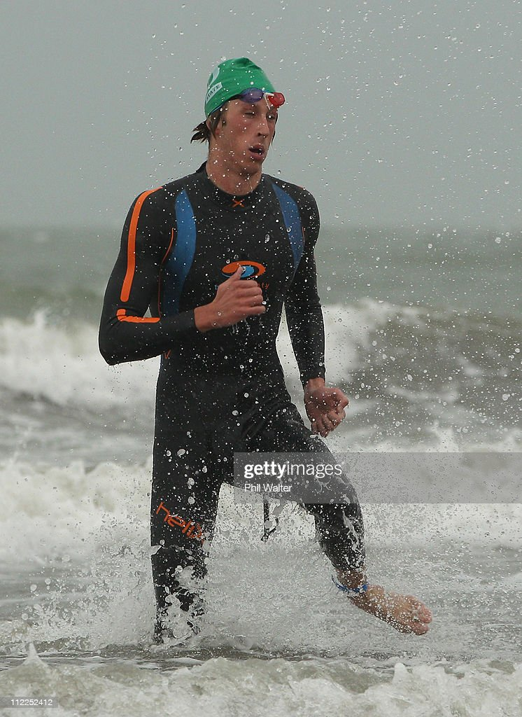 Dylan DunlopBarrett of Oakura leaves the water to win the King of the Bays Ocean Swim at Takapuna Beach on April 16 2011 in Auckland New Zealand