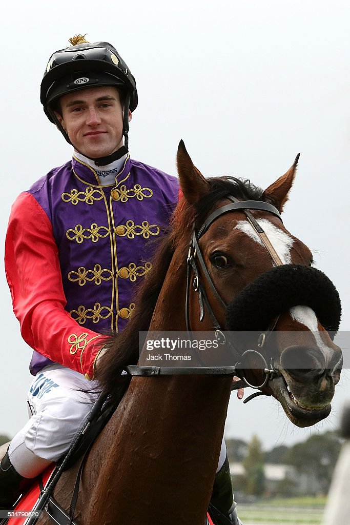 Dylan Dunn riding Bold Sniper after winning Race 3 during Melbourne Racing at Sandown Lakeside on May 28, 2016 in Melbourne, Australia.