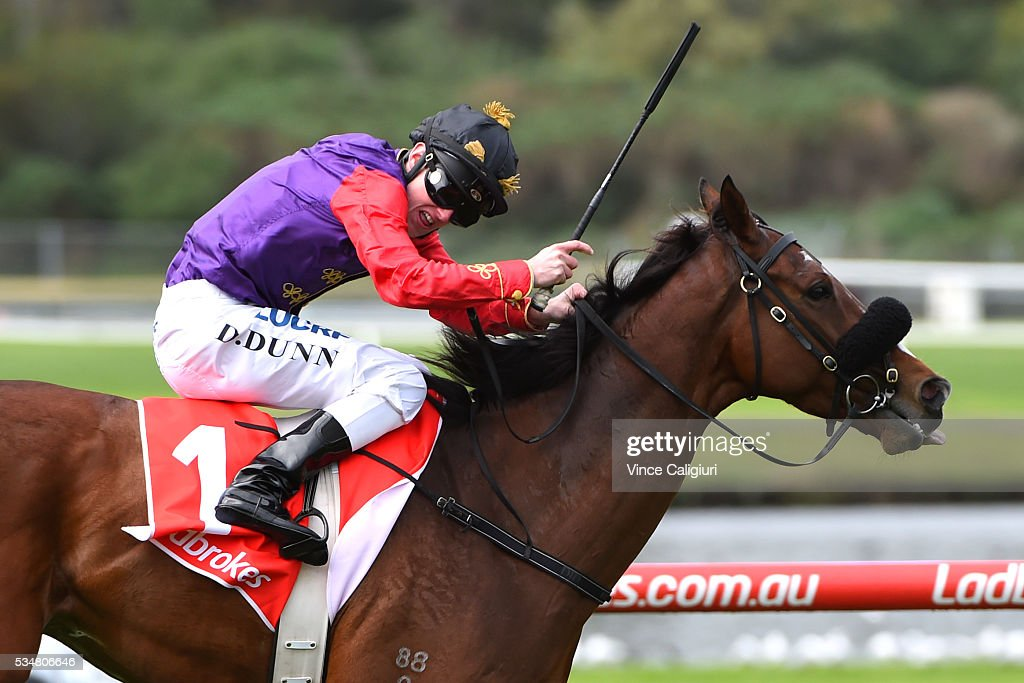 Dylan Dunn riding Bold Sniper wins Race 3, during Melbourne Racing at Sandown Lakeside on May 28, 2016 in Melbourne, Australia. Bold Sniper is owned by Queen Elizabeth II