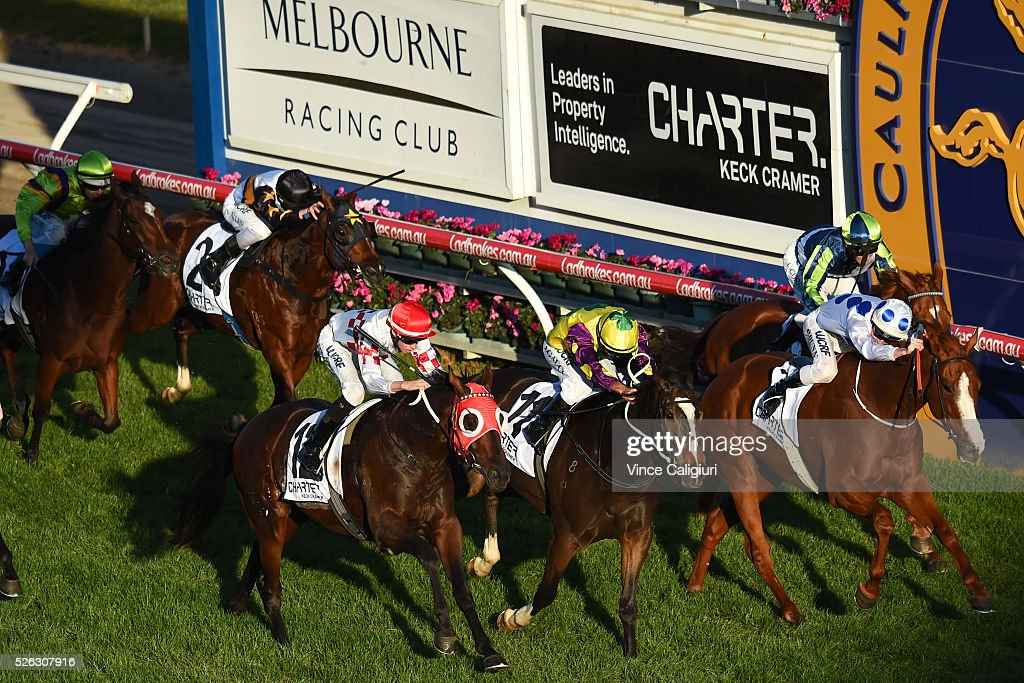 Dylan Dunn riding Charmed Harmony winning Race 8 during Melbourne Racing at Caulfield Racecourse on April 30, 2016 in Melbourne, Australia.