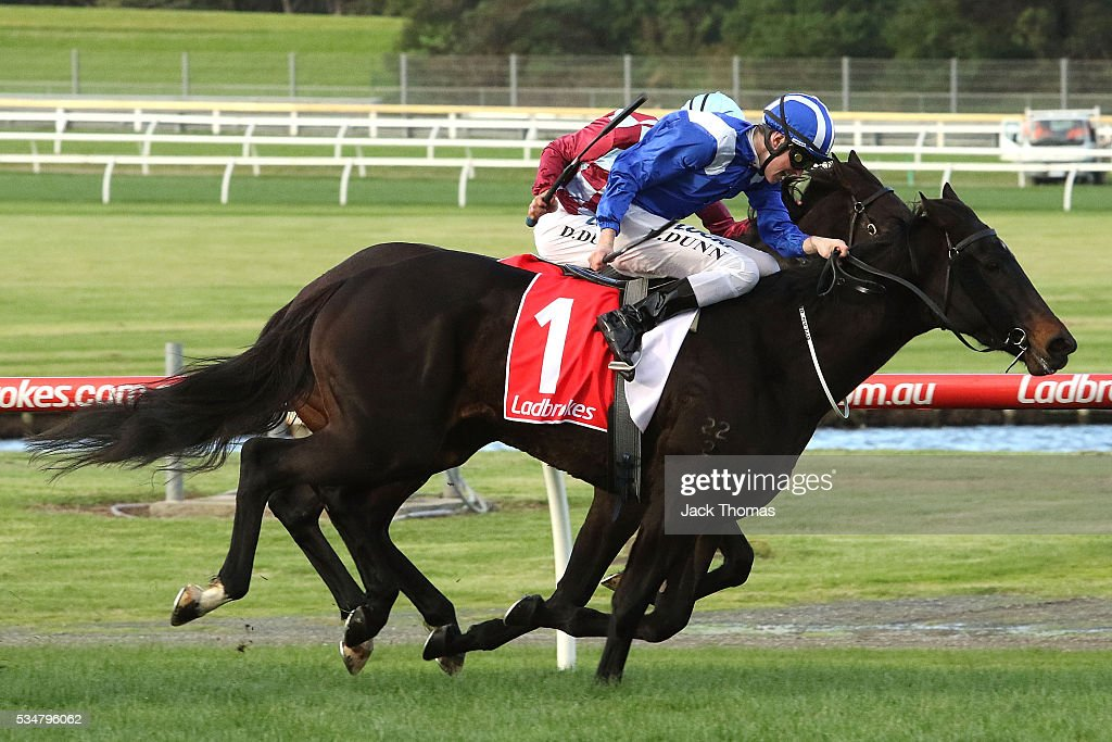 Dylan Dunn riding Lahqa wins in Race 7 during Melbourne Racing at Sandown Lakeside on May 28, 2016 in Melbourne, Australia.