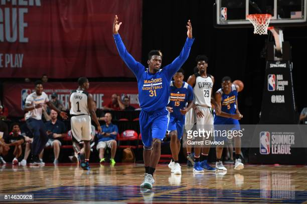 Dylan Ennis of the Golden State Warriors reacts during the game against the LA Clippers on July 14 2017 at the Thomas Mack Center in Las Vegas Nevada...