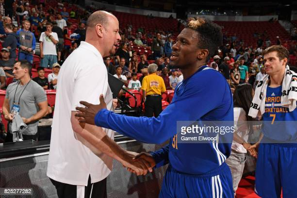 Dylan Ennis of the Golden State Warriors shakes hands after the game against the LA Clippers July 14 2017 at the Thomas Mack Center in Las Vegas...