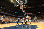 Dylan Ennis of the Villanova Wildcats dunks the basketball during a college basketball game against the Georgetown Hoyas at the Verizon Center on...
