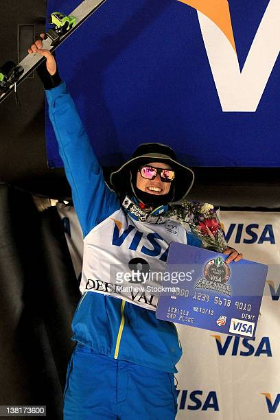 Dylan Ferguson celebrates on the victory podium after finishing second in the Men's Aerials during the Visa Freestyle International FIS Freestyle...