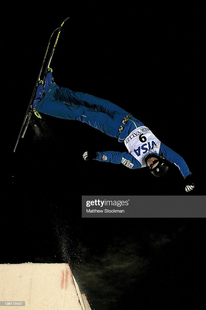 <a gi-track='captionPersonalityLinkClicked' href=/galleries/search?phrase=Dylan+Ferguson&family=editorial&specificpeople=2524622 ng-click='$event.stopPropagation()'>Dylan Ferguson</a> #9 competes in the Men's Aerials during the Visa Freestyle International FIS Freestyle World Cup at Deer Valley on February 3, 2012 in Park City, Utah.