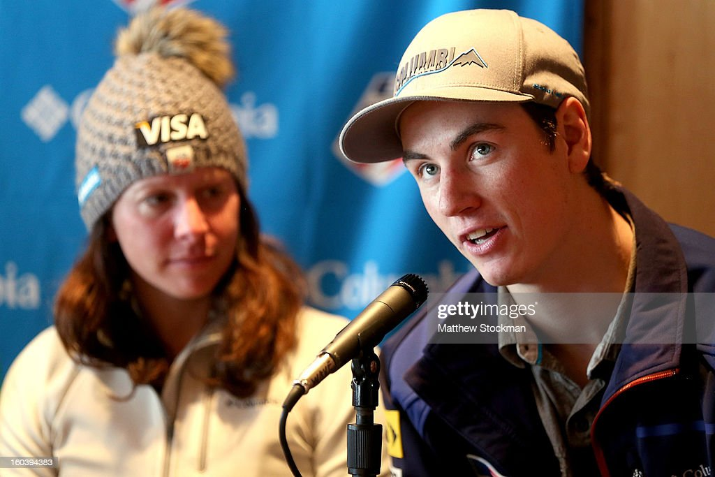 Dylan Ferguson fields questions from the media at a press conference for the US Freestyle Team during the Visa Freestyle International at Deer Valley on January 30, 2013 in Park City, Utah.
