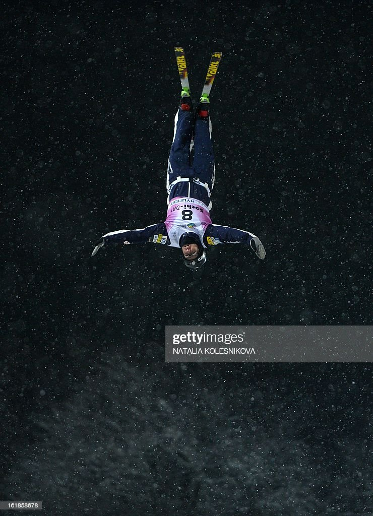 US Dylan Ferguson jumps during the Freestyle Ski World Cup Men's Aerials Test Event at the Snowboard and Freestyle Center in Rosa Khutor near the Black Sea resort of Sochi, on February 17, 2013. Chinese Guangpu Qi won ahead of Chinese Zhongqing Liu and Belarus Denis Osipau. AFP PHOTO / NATALIA KOLESNIKOVA