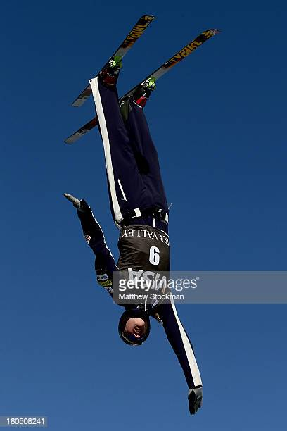 Dylan Ferguson jumps while training for the Mens Aerials during the Visa Freestyle International at Deer Valley on February 1 2013 in Park City Utah