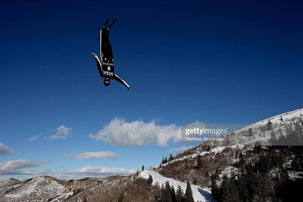 Dylan Ferguson #9 jumps while training for the Mens Aerials during the Visa Freestyle International at Deer Valley on February 1, 2013 in Park City, Utah.