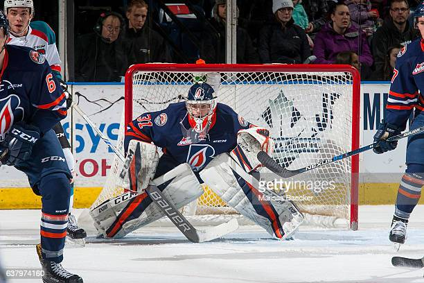 Dylan Ferguson of the Kamloops Blazers defends the net against the Kelowna Rockets on January 7 2017 at Prospera Place in Kelowna British Columbia...
