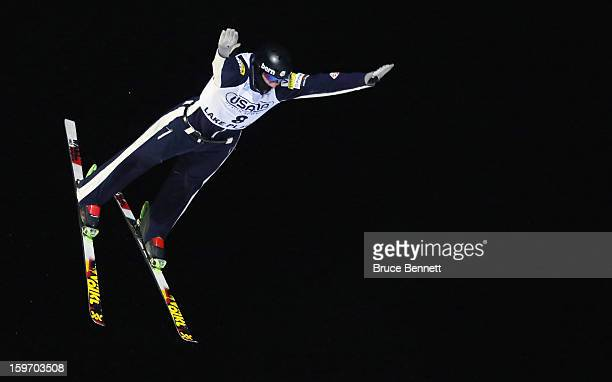 Dylan Ferguson of the USA competes in the USANA Freestyle World Cup aerial competition at the Lake Placid Olympic Jumping Complex on January 18 2013...