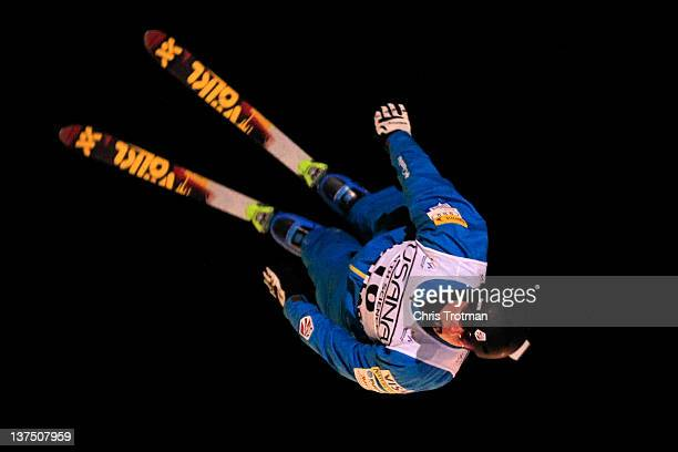 Dylan Ferguson of the USA jumps in the Men's Aerials event at the USANA Lake Placid FIS Freestyle Ski World Cup on January 21 2012 in Lake Placid New...