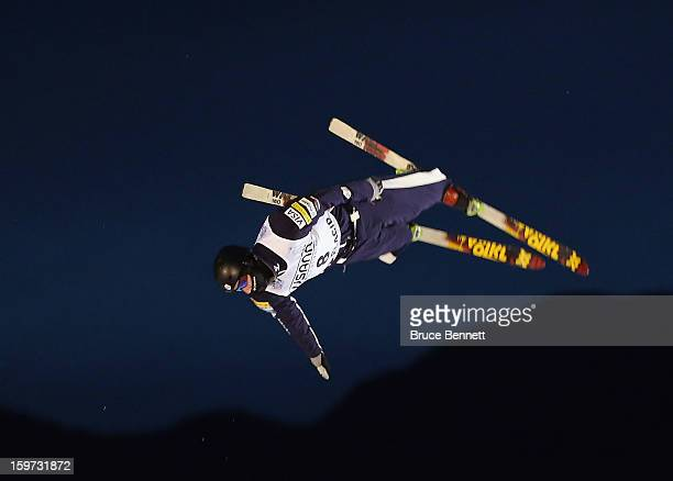 Dylan Ferguson of the USA jumps in the USANA Freestyle World Cup aerial competition at the Lake Placid Olympic Jumping Complex on January 19 2013 in...