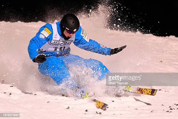 Dylan Ferguson of the USA lands a jump in the Men's Aerials event at the USANA Lake Placid FIS Freestyle Ski World Cup on January 21 2012 in Lake...