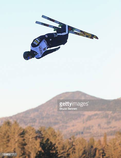 Dylan Ferguson of the USA practices prior to the qualification round of the USANA Freestyle World Cup aerial competition at the Lake Placid Olympic...
