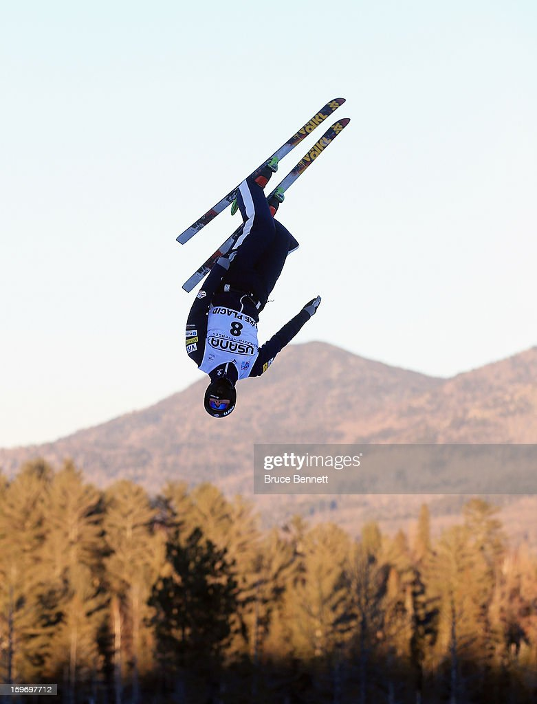 Dylan Ferguson #8 of the USA practices prior to the qualification round of the USANA Freestyle World Cup aerial competition at the Lake Placid Olympic Jumping Complex on January 18, 2013 in Lake Placid, New York.