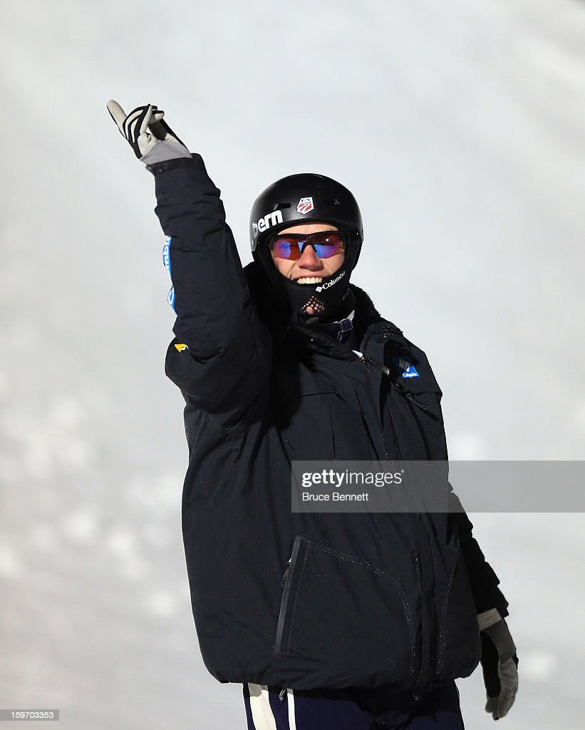 <a gi-track='captionPersonalityLinkClicked' href=/galleries/search?phrase=Dylan+Ferguson&family=editorial&specificpeople=2524622 ng-click='$event.stopPropagation()'>Dylan Ferguson</a> #8 of the USA salutes the crowds during intros in the USANA Freestyle World Cup aerial competition at the Lake Placid Olympic Jumping Complex on January 18, 2013 in Lake Placid, New York.
