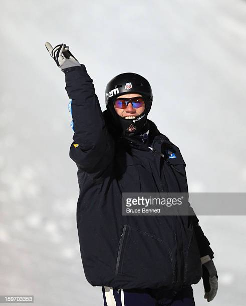 Dylan Ferguson of the USA salutes the crowds during intros in the USANA Freestyle World Cup aerial competition at the Lake Placid Olympic Jumping...