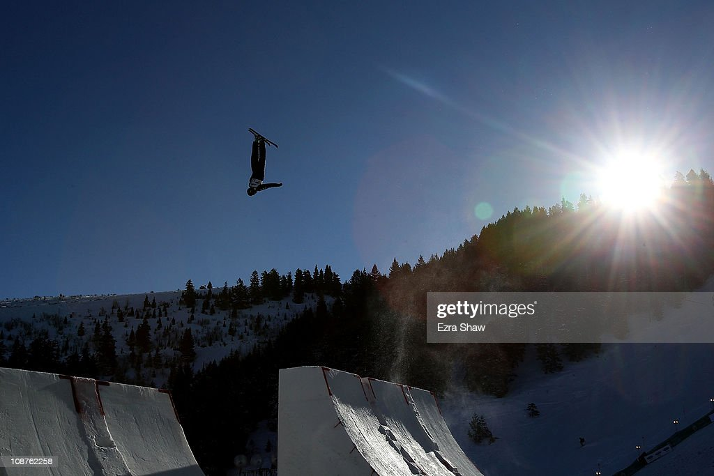 <a gi-track='captionPersonalityLinkClicked' href=/galleries/search?phrase=Dylan+Ferguson&family=editorial&specificpeople=2524622 ng-click='$event.stopPropagation()'>Dylan Ferguson</a> of the USA trains for the men's aerials competition in the FIS Freestyle World Ski Championships at Deer Valley Resort on February 2, 2011 in Park City, Utah.
