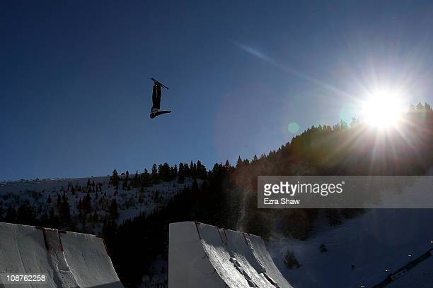 Dylan Ferguson of the USA trains for the men's aerials competition in the FIS Freestyle World Ski Championships at Deer Valley Resort on February 2...
