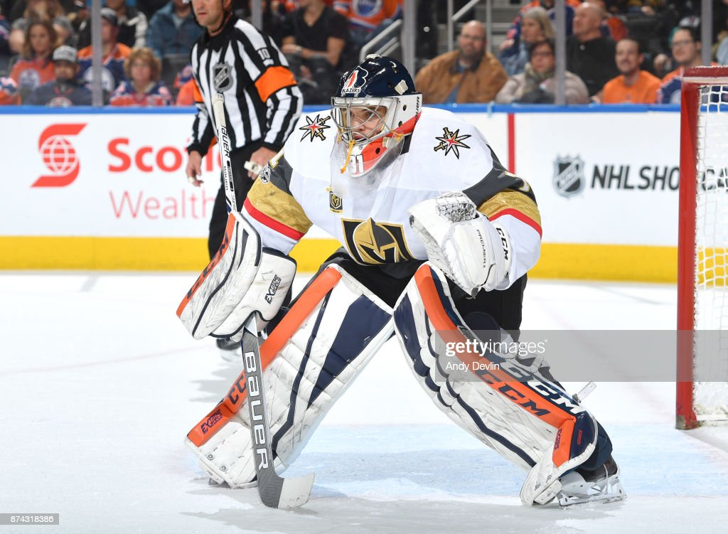 Dylan Ferguson #1 of the Vegas Golden Knights prepares to make a save in his first NHL game against the Edmonton Oilers on November 14, 2017 at Rogers Place in Edmonton, Alberta, Canada.