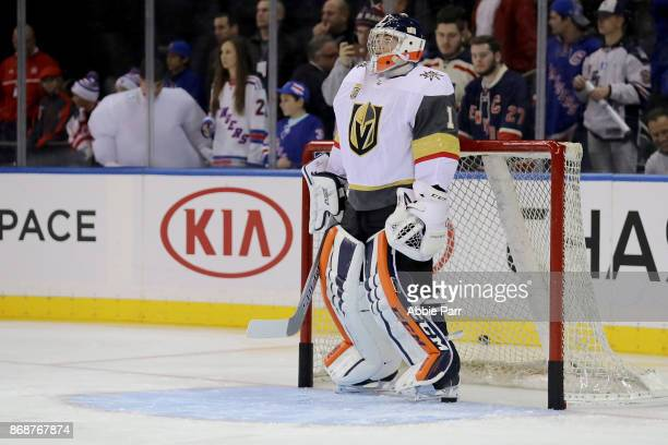 Dylan Ferguson of the Vegas Golden Knights warms up prior to taking on the New York Rangers during their game at Madison Square Garden on October 31...