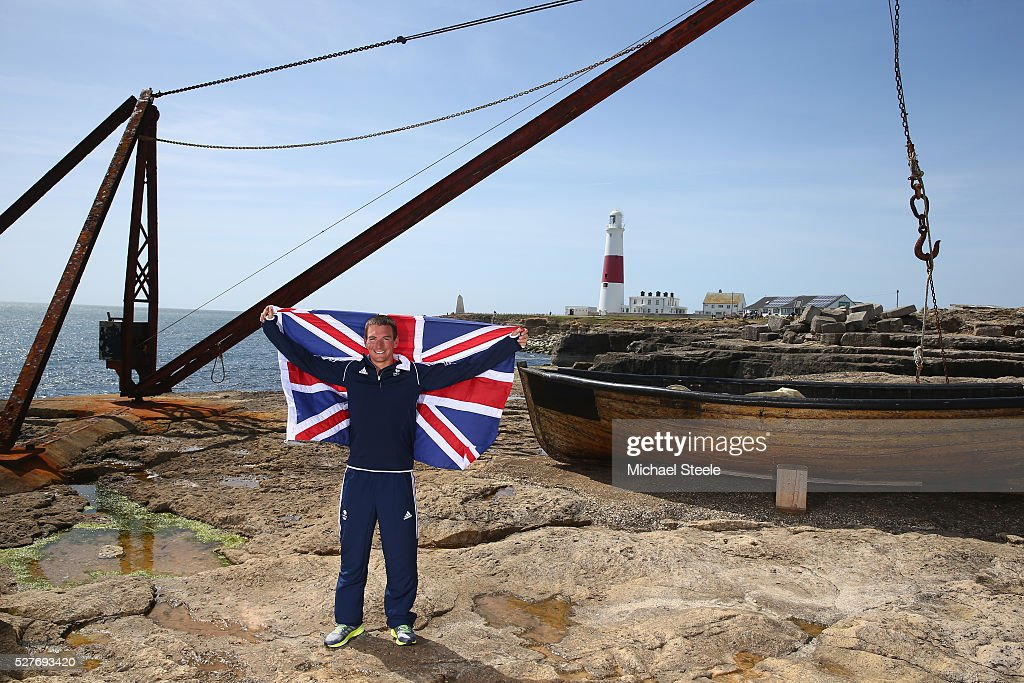 Dylan Fletcher of the 49er Men's Class and Team GB poses during a Team GB Sailing Announcement for the Rio 2016 Olympic Games at Portland Bill on May 3, 2016 in Weymouth, England.