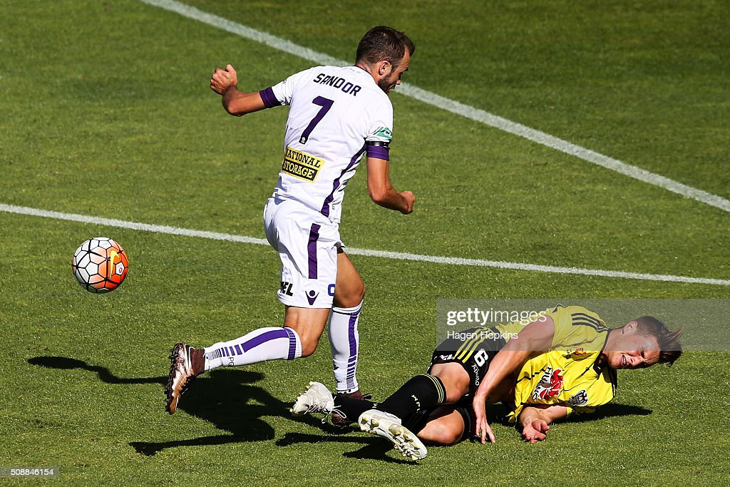 Dylan Fox of the Phoenix is brought down in the challenge of Gyorgy Sandor of the Glory during the round 18 A-League match between Wellington Phoenix and Perth Glory at Westpac Stadium on February 7, 2016 in Wellington, New Zealand.