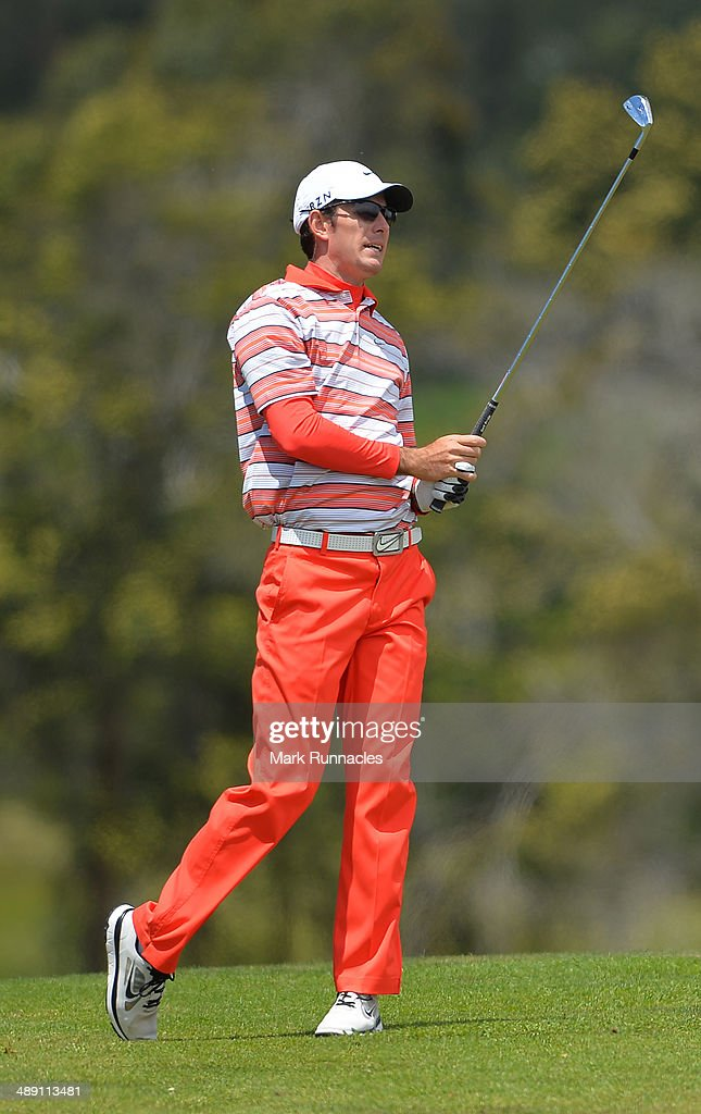 Dylan Frittelli of Republic of South Africa watches on after playing his approach shot to the 3rd green during the Madeira Islands Open - Portugal - BPI at Club de Golf do Santo da Serra on May 10, 2014 in Funchal, Madeira, Port gal.