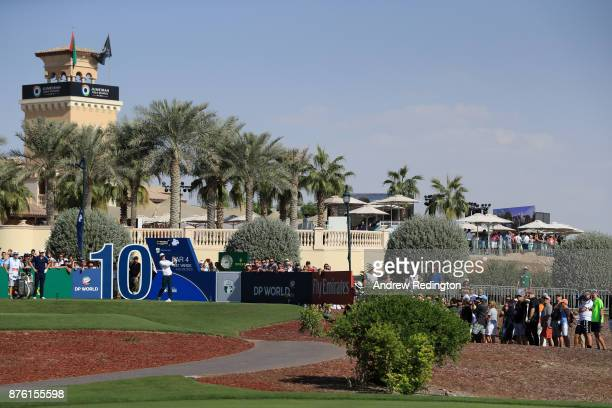Dylan Frittelli of South Africa tees off on the 10th hole during the final round of the DP World Tour Championship at Jumeirah Golf Estates on...
