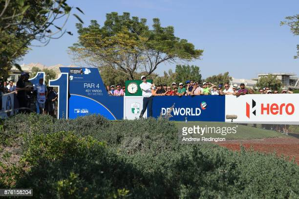 Dylan Frittelli of South Africa tees off on the 11th hole during the final round of the DP World Tour Championship at Jumeirah Golf Estates on...