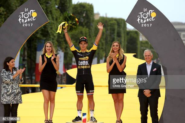 Dylan Groenewegen of Netherlands riding for Team Lotto NLJumbo celebrates on the podium after winning stage 21 of the 2017 Le Tour de France a 103km...