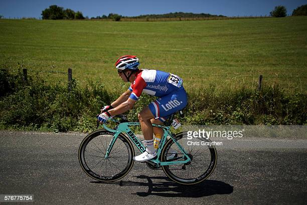 Dylan Groenewegen of Netherlands riding for Team LottoNLJumbo rides in the peloton during stage fifteen of the 2016 Le Tour de France a 160km stage...