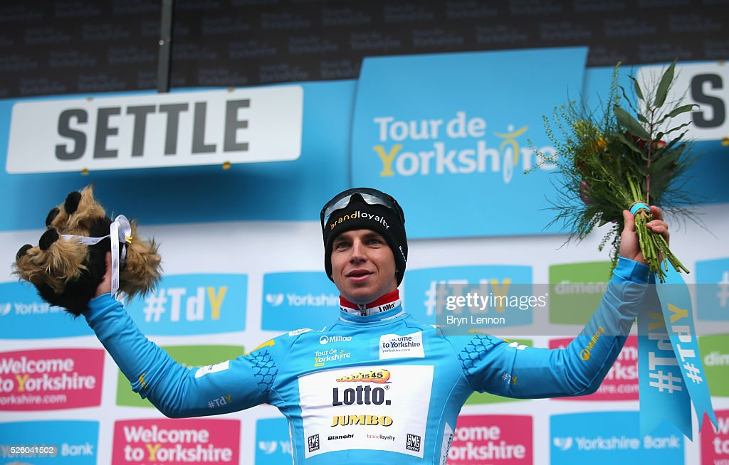 Dylan Groenewegen of Team Lotto NL-Jumbo and the Netherlands celebrates after winning the first stage of the 2016 Tour de Yorkshire from Beverley to Settle on April 29, 2016 in Settle, England.