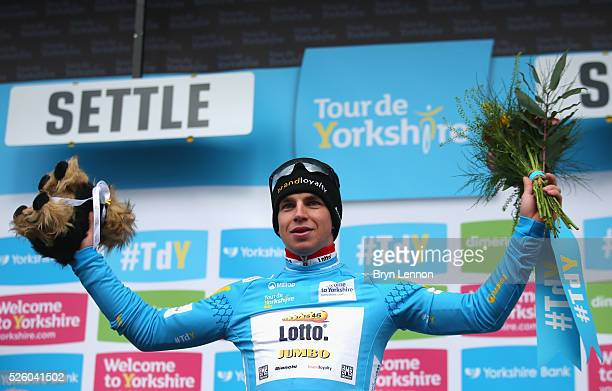 Dylan Groenewegen of Team Lotto NLJumbo and the Netherlands celebrates after winning the first stage of the 2016 Tour de Yorkshire from Beverley to...