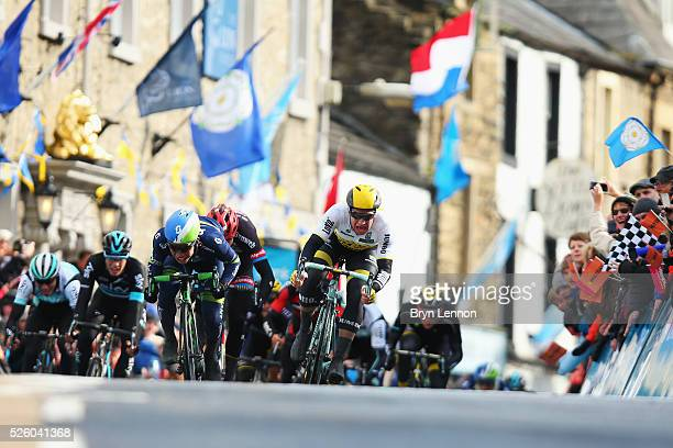 Dylan Groenewegen of Team Lotto NLJumbo and the Netherlands sprints to the line on the way to winning the first stage of the 2016 Tour de Yorkshire...