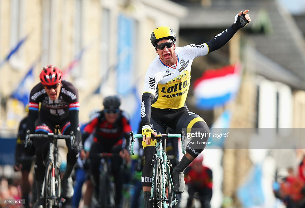 Dylan Groenewegen of Team Lotto NL-Jumbo and the Netherlands wins the first stage of the 2016 Tour de Yorkshire from Beverley to Settle on April 29, 2016 in Settle, England.