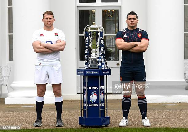 Dylan Hartley Captain of England and Guilhem Guirado Captain of France pose with The Six Nations trophy during the 2017 RBS Six Nations launch at The...