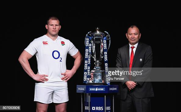 Dylan Hartley captain of England poses with head coach Eddie Jones and the trophy during the RBS Six Nations launch at The Hurlingham Club on January...