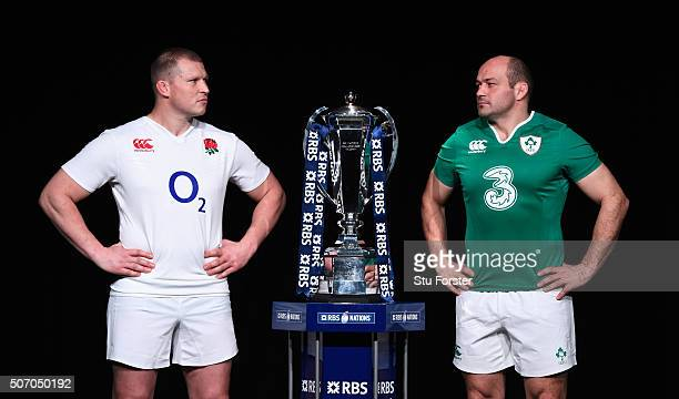 Dylan Hartley captain of England poses with Rory Best captain of Ireland and the trophy during the RBS Six Nations launch at The Hurlingham Club on...